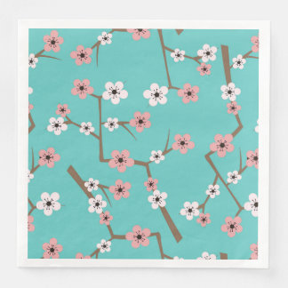Cherry Blossom Pattern Turquoise Paper Napkins