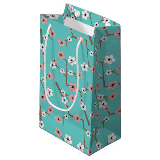 Cherry Blossom Pattern Turquoise Small Gift Bag