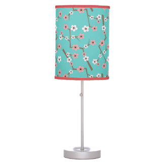 Cherry Blossom Pattern Turquoise Table Lamp