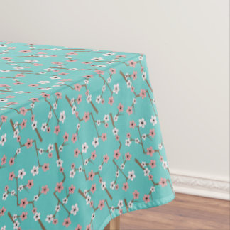 Cherry Blossom Pattern Turquoise Tablecloth