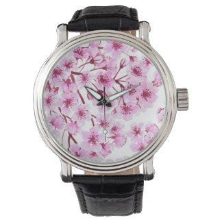 Cherry blossom pattern watch