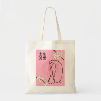cherry blossom penguins tote bag