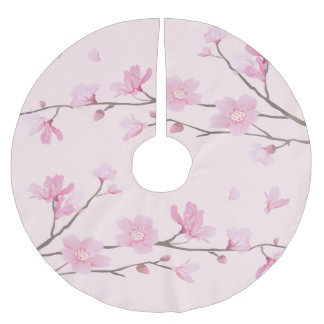 Cherry Blossom - Pink Brushed Polyester Tree Skirt