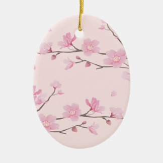 Cherry Blossom - Pink Ceramic Oval Ornament