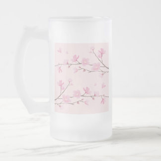 Cherry Blossom - Pink Frosted Glass Beer Mug