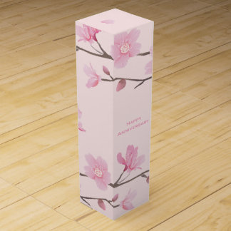 Cherry Blossom - Pink - Happy Anniversary Wine Bottle Boxes