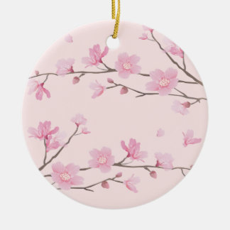 Cherry Blossom - Pink - HAPPY BIRTHDAY Round Ceramic Ornament