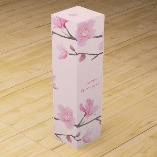 Cherry Blossom - Pink - Happy Birthday Wine Gift Box