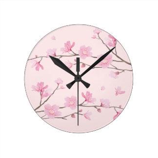 Cherry Blossom - Pink Round Clock