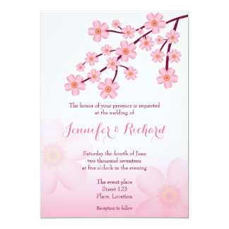 Cherry Blossom Pink Sakura Floral Wedding Card