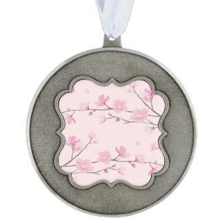 Cherry Blossom - Pink Scalloped Pewter Ornament