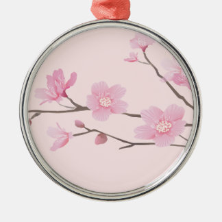 Cherry Blossom - Pink Silver-Colored Round Ornament