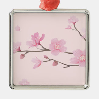 Cherry Blossom - Pink Silver-Colored Square Ornament