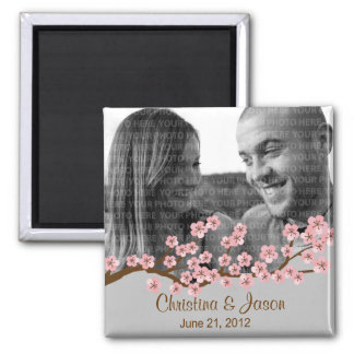 Cherry Blossom Pink Silver Save the Date Photo Magnet