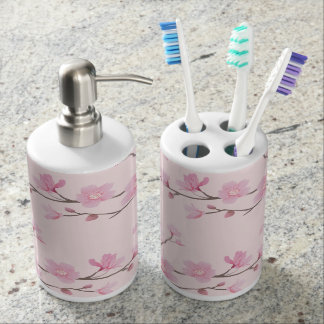 Cherry Blossom - Pink Soap Dispenser And Toothbrush Holder