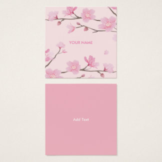 Cherry Blossom - Pink Square Business Card