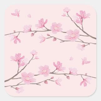 Cherry Blossom - Pink Square Sticker
