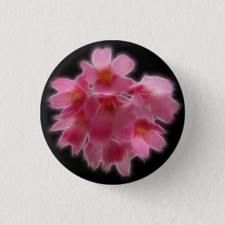 Cherry Blossom Pink Tree Flower 1 Inch Round Button