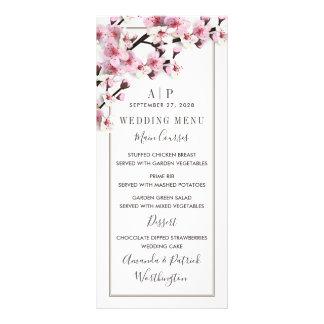Cherry Blossom Pink White Wedding Menu Cards