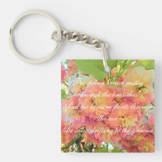 Cherry blossom poem Double-Sided square acrylic keychain