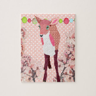 Cherry Blossom Pretty Pink Fawn Art Puzzle