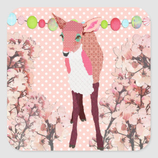 Cherry Blossom Pretty Pink Fawn Square Sticker