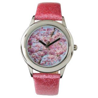 Cherry Blossom Print Glitter Band Watch