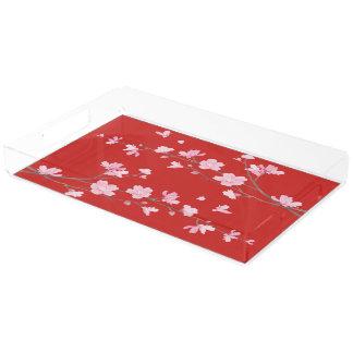 Cherry Blossom - Red Acrylic Tray
