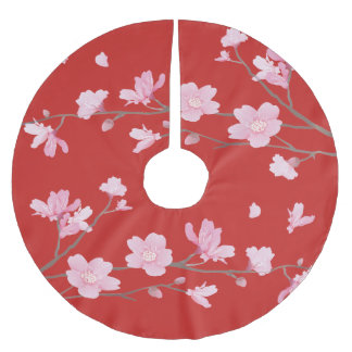 Cherry Blossom - Red Brushed Polyester Tree Skirt