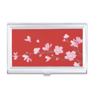 Cherry Blossom - Red Business Card Holder