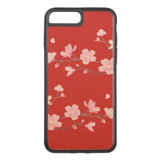 Cherry Blossom - Red Carved iPhone 8 Plus/7 Plus Case