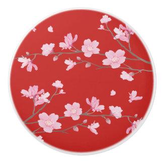 Cherry Blossom - Red Ceramic Knob