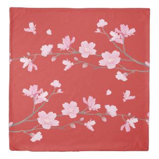 Cherry Blossom - Red Duvet Cover