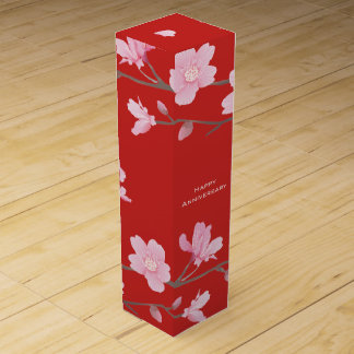 Cherry Blossom-Red-Happy Anniversary Wine Gift Box