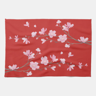 Cherry Blossom - Red Kitchen Towel