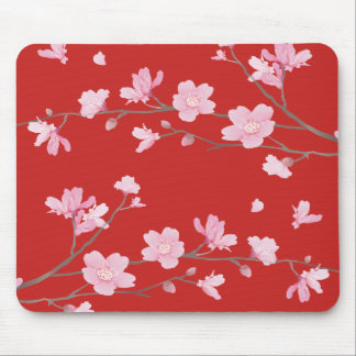 Cherry Blossom - Red Mouse Pad