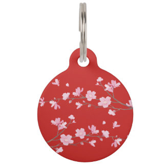Cherry Blossom - Red Pet Tag