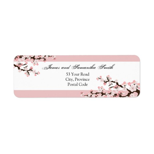 Cherry Blossom Return Address Label - Pink White