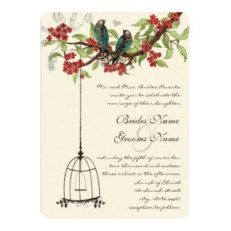 Cherry Blossom Romantic Birds & Birdcage Weddings Card