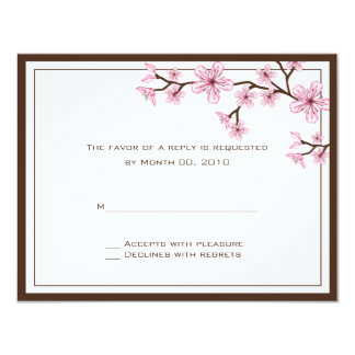"Cherry Blossom RSVP Cards 4.25"" X 5.5"" Invitation Card"