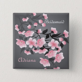 Cherry blossom (Sakura) Bridesmaid 2 Inch Square Button