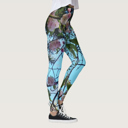 Cherry Blossom Sakura Flowers Floral Leggings