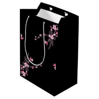 Cherry Blossom, Sakura Flowers - Pink Black Medium Gift Bag