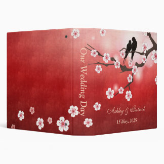 Cherry Blossom Sakura & Love Birds Wedding Photo A Binder