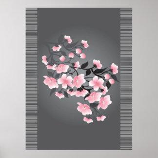 Cherry blossom (Sakura) on a gray background Poster