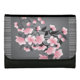 Cherry Blossom (sakura) on a gray black Leather Wallet