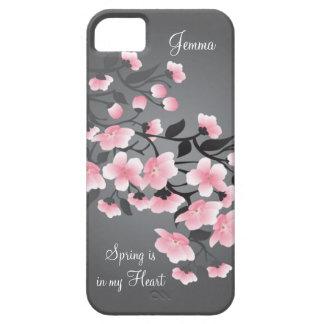 Cherry blossom (Sakura) on gray iPhone 5 Covers