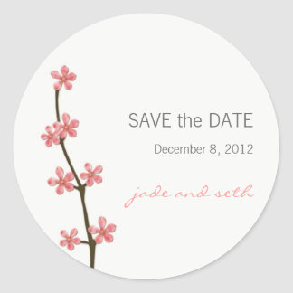 cherry blossom save the date classic round sticker