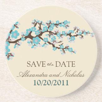 Cherry Blossom Save-the-Date Coaster (aqua)