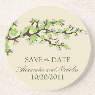 Cherry Blossom Save-the-Date Coaster (green)